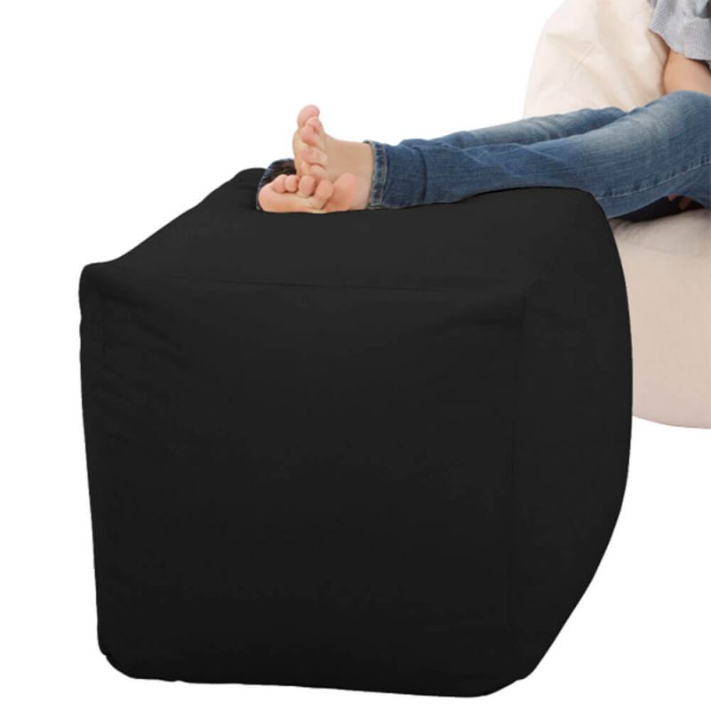 Faux Leather Cube Bean Bag - Black