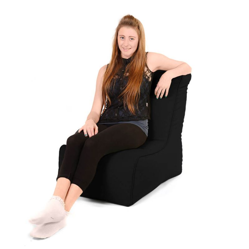 Faux Leather Comfy Adult Chair Bean Bag - Black