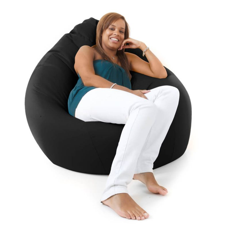 Faux Leather Giant Mansize Bean Bag - Black