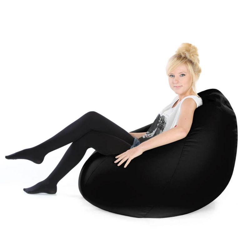 Faux Leather Highback Mansize Bean Bag - Black
