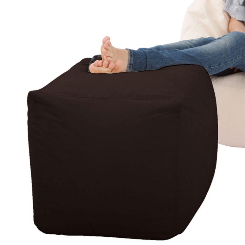 Faux Leather Cube Bean Bag - Brown