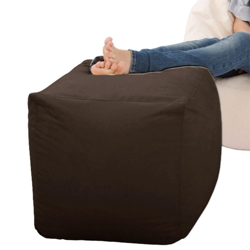 Faux Suede Cube Bean Bag - Brown