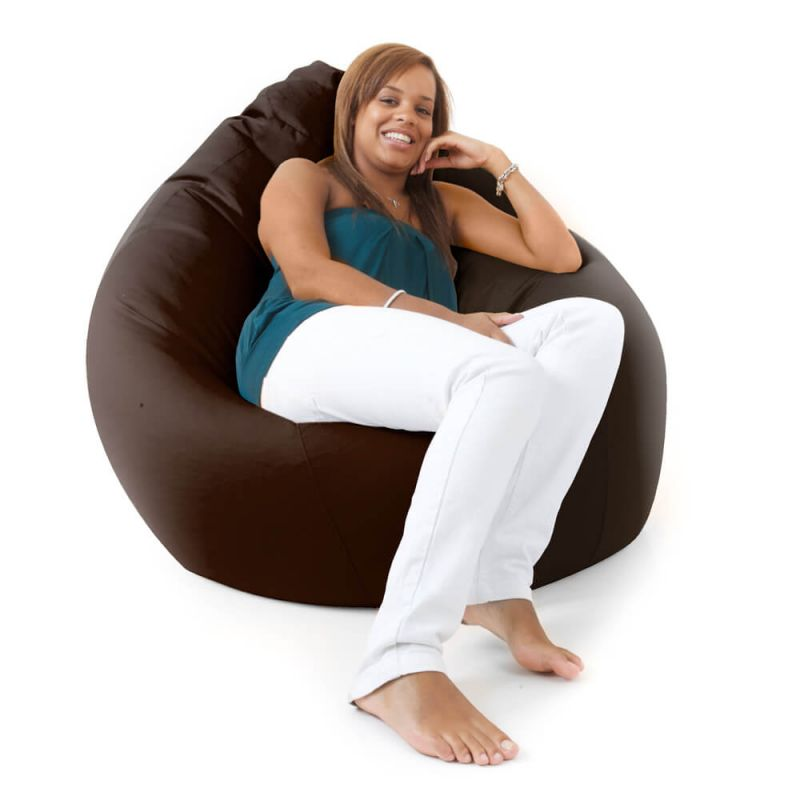 Faux Leather Giant Mansize Bean Bag - Brown