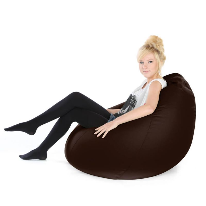 Faux Leather Highback Mansize Bean Bag - Brown