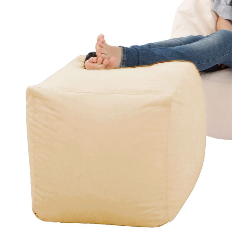 Faux Leather Cube Bean Bag - Cream
