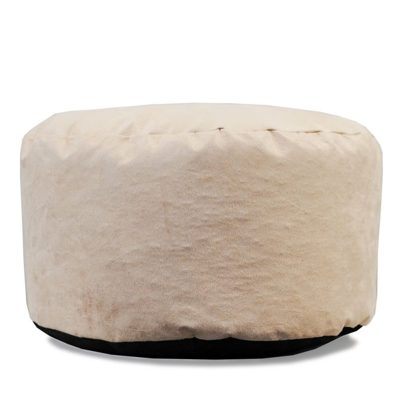Faux Suede Footstool Bean Bag - Cream