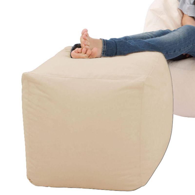 Faux Suede Cube Bean Bag - Cream