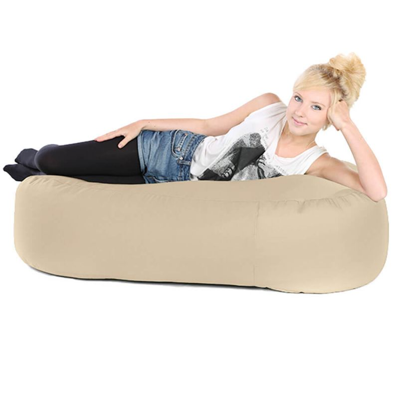 Faux Leather Ottoman Bean Bag - Cream