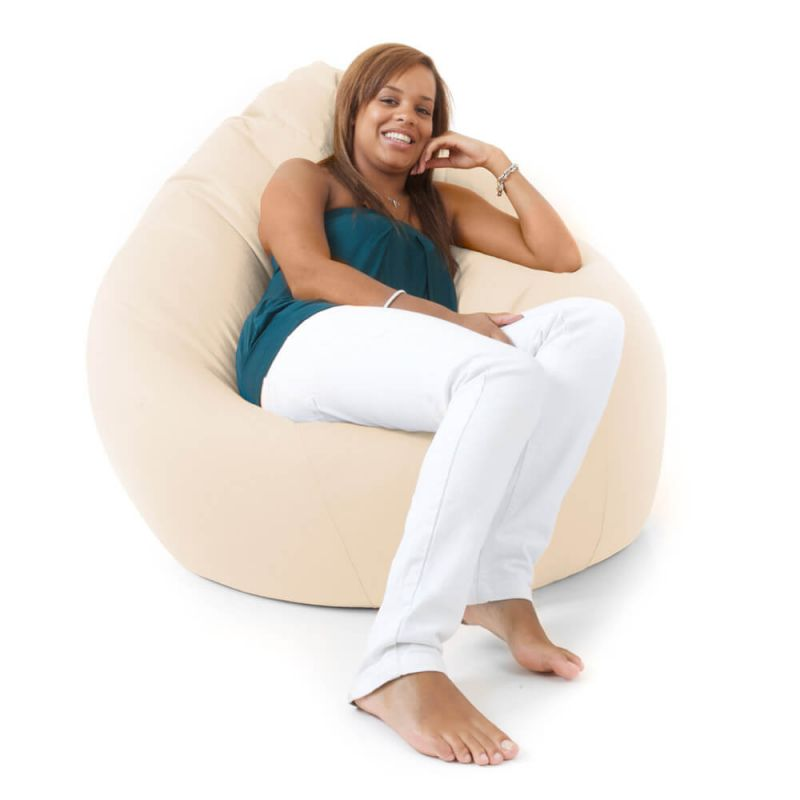 Faux Leather Giant Mansize Bean Bag - Cream