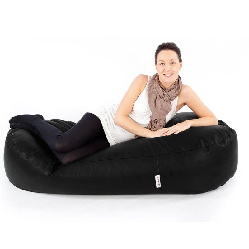 Faux Leather 5ft Bean Sofa Bean Bag - Black