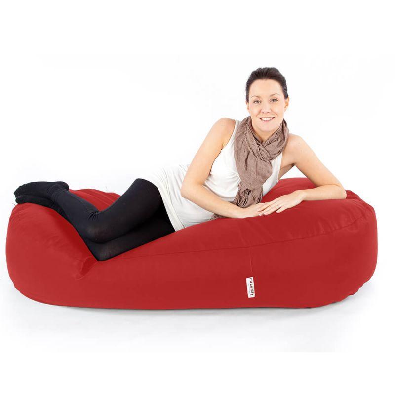 Faux Leather 5ft Bean Sofa Bean Bag - Red