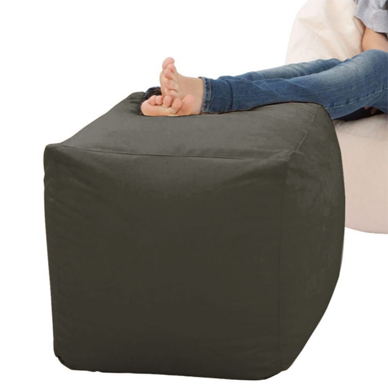 Faux Suede Cube Bean Bag - Slate Grey