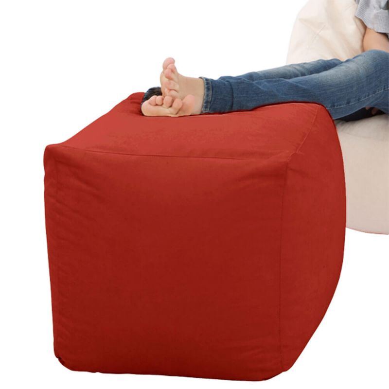 Faux Leather Cube Bean Bag - Red