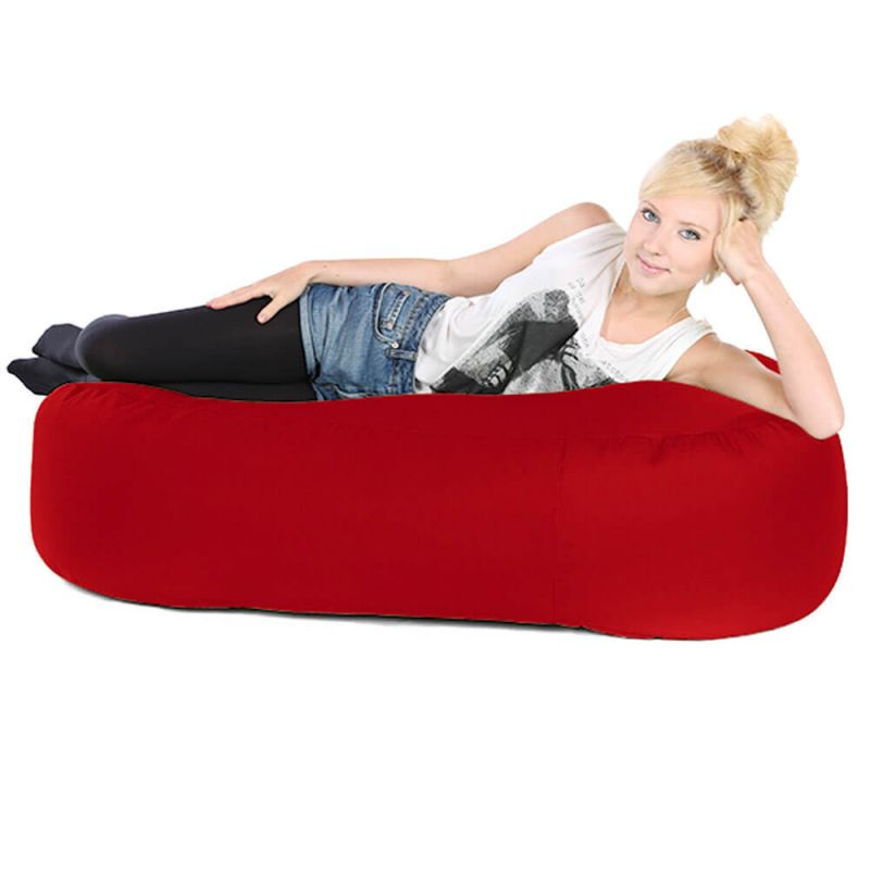Faux Leather Ottoman Bean Bag - Red