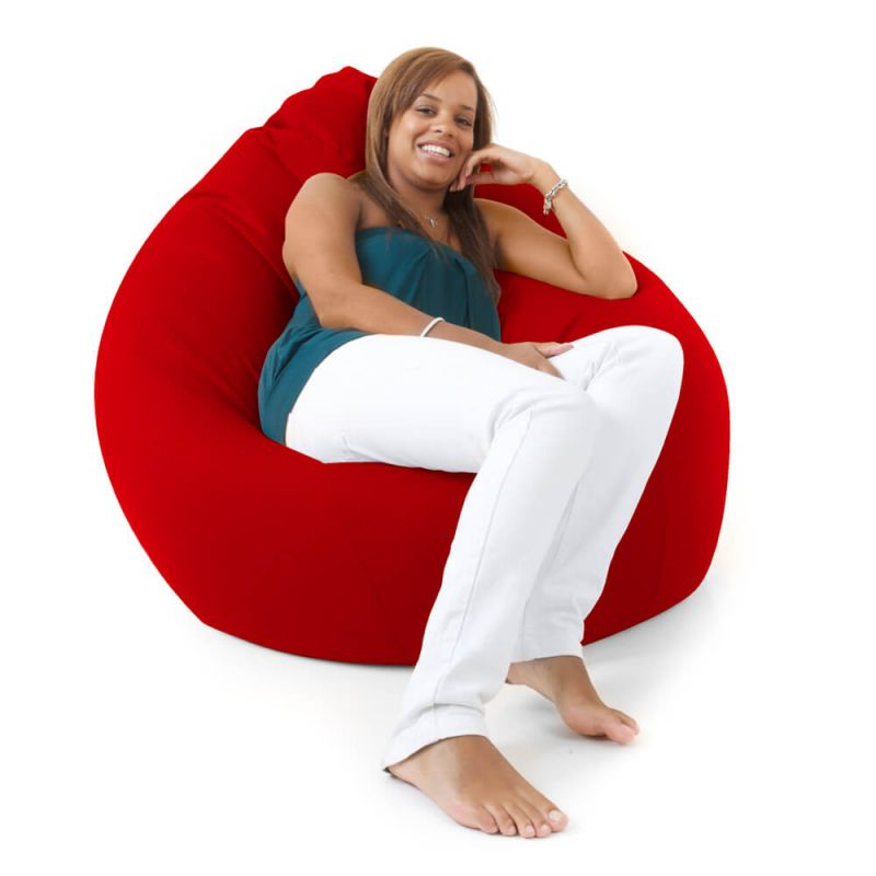 Faux Leather Giant Mansize Bean Bag - Red