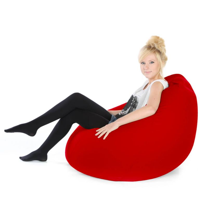 Faux Leather Highback Mansize Bean Bag - Red