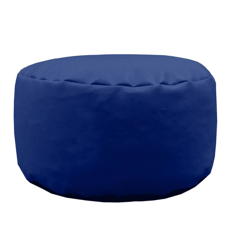 Faux Leather Footstool Bean Bag - Royal Blue