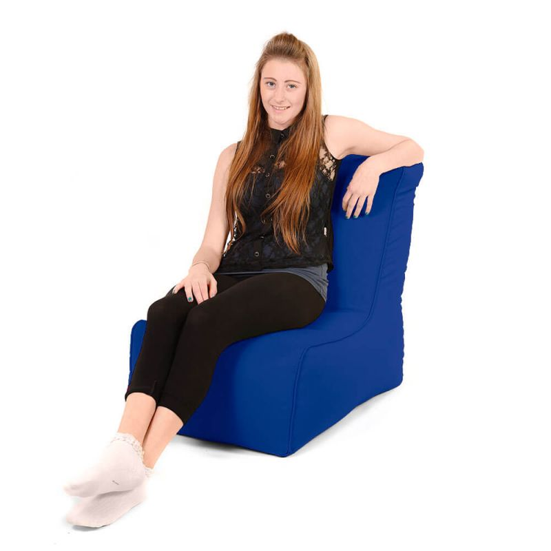 Faux Leather Comfy Adult Chair Bean Bag - Royal Blue