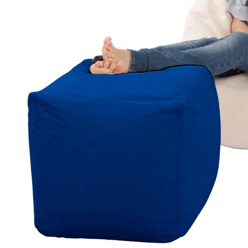 Faux Leather Cube Bean Bag - Royal Blue