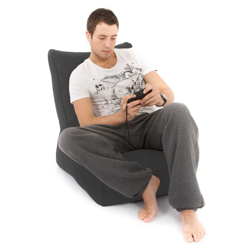Faux Suede Comfy Adult Chair Bean Bag - Slate Grey