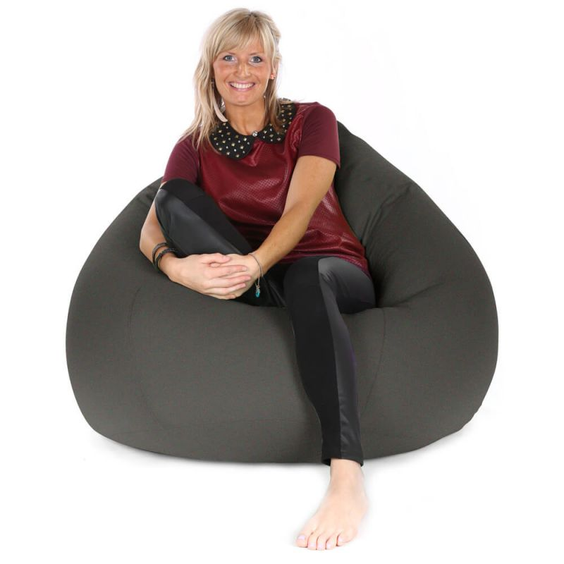 Faux Suede Highback Mansize Bean Bag - Slate Grey