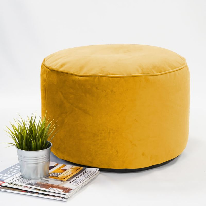 Velvet Pouffe - Mustard