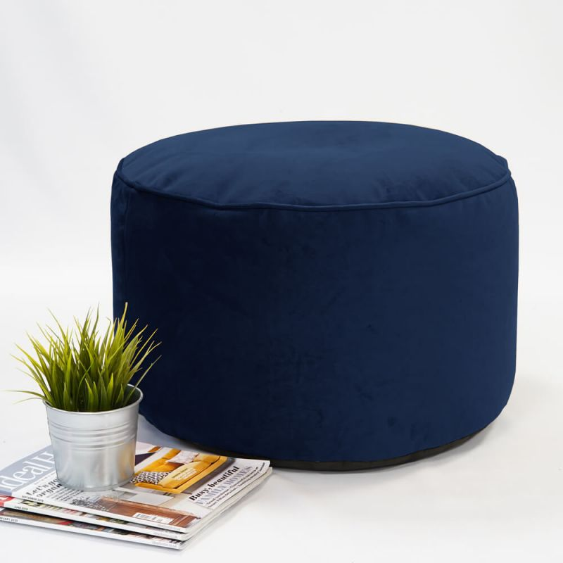 Velvet Pouffe - Ink Blue