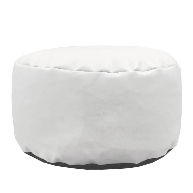 Faux Leather Footstool Bean Bag - White