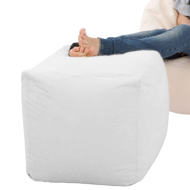 Faux Leather Cube Bean Bag - White
