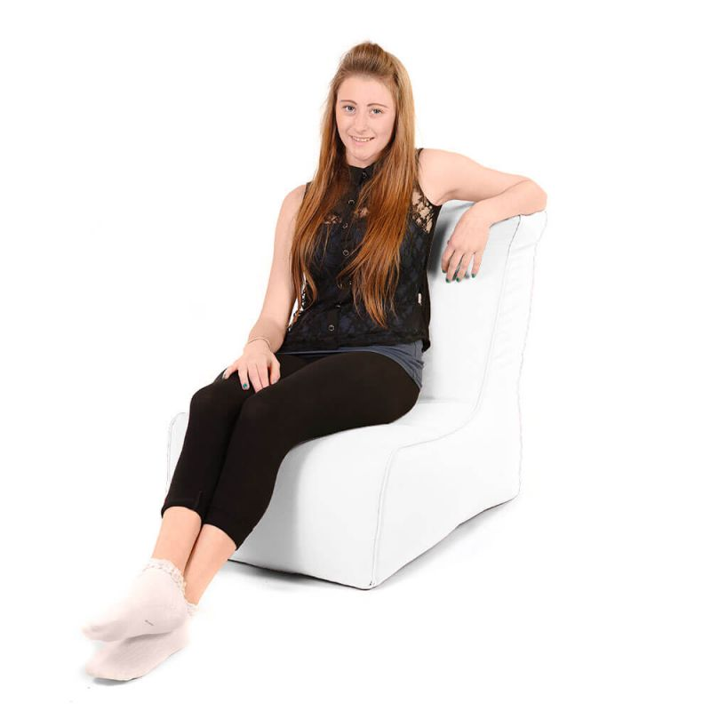 Faux Leather Comfy Adult Chair Bean Bag - White