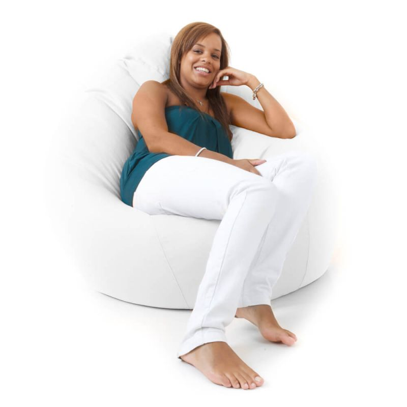 Faux Leather Giant Mansize Bean Bag - White