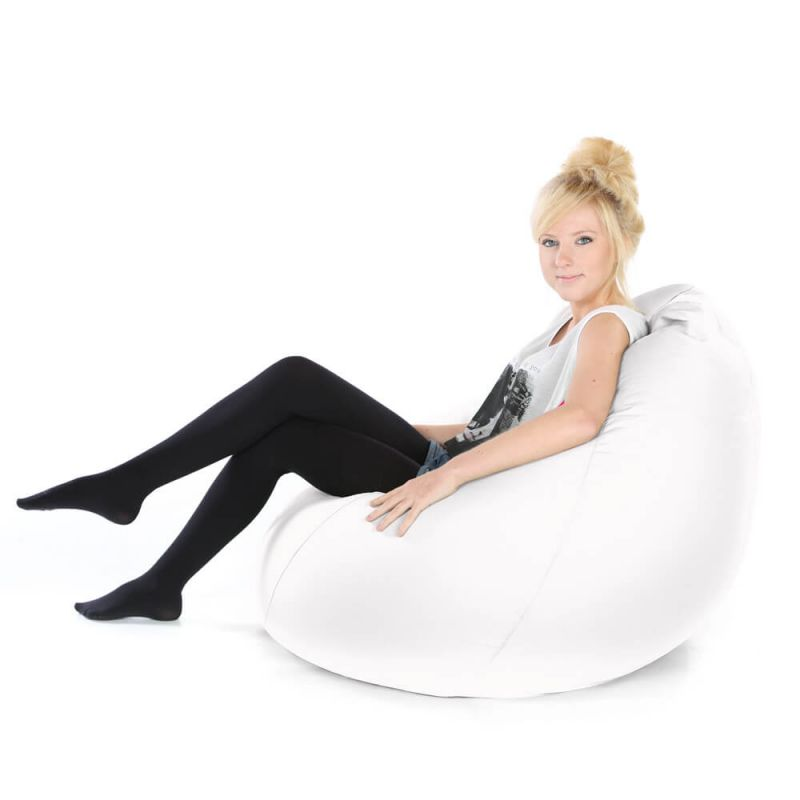 Faux Leather Highback Mansize Bean Bag - White
